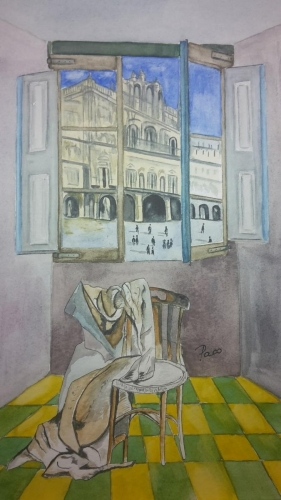 """Offene Fenster mit verlassenem Stuhl"", Juan Garcia"